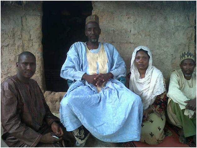 Community head with data collection staff, Gombe State, Nigeria