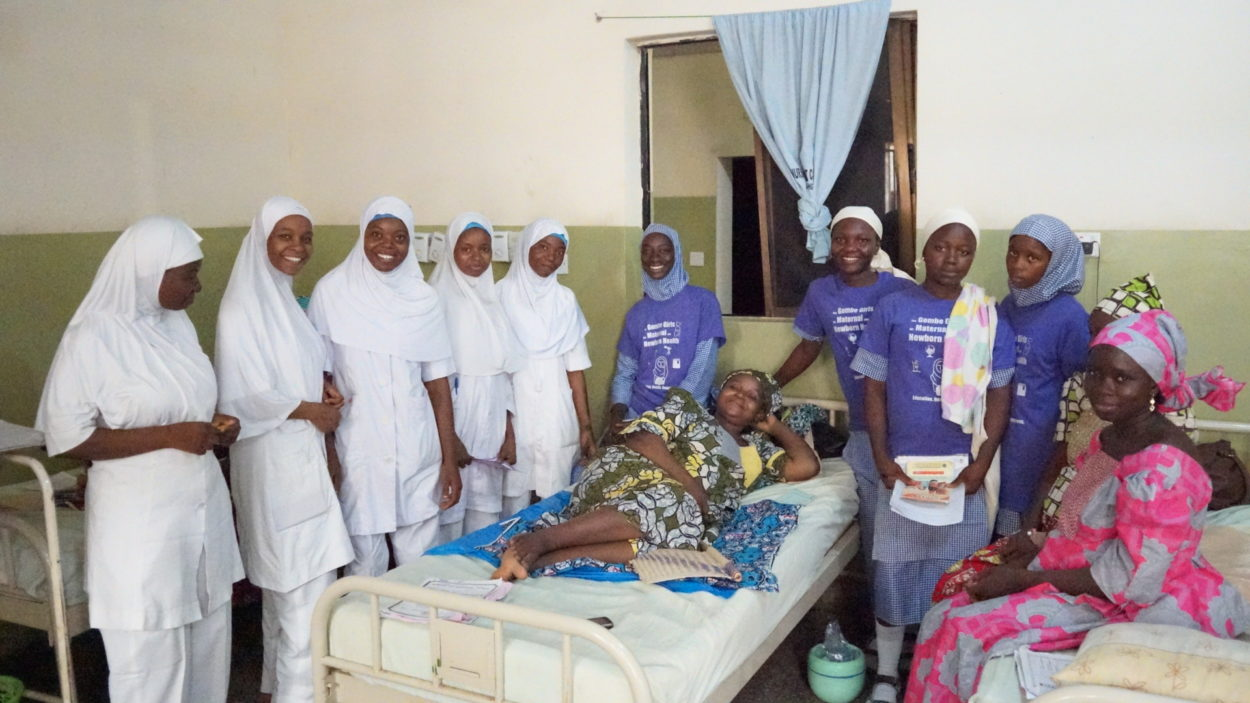 Girls participating in the engagement activity visit a maternity ward